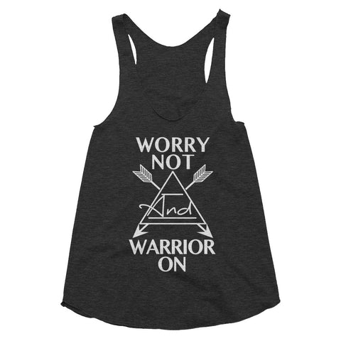 Worry Not Warrior On, Women's racerback tank, boho, festival style