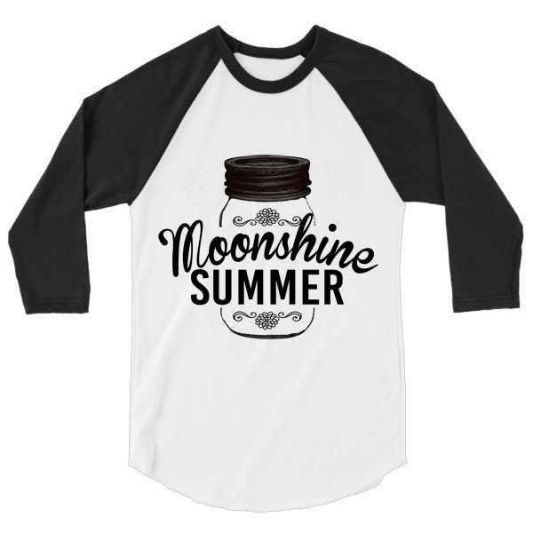 Moonshine Summer 3/4 sleeve raglan, baseball shirt