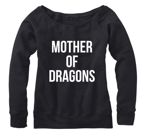 Mother of Dragons, Fleece, Wide neck Pullover sweatshirt