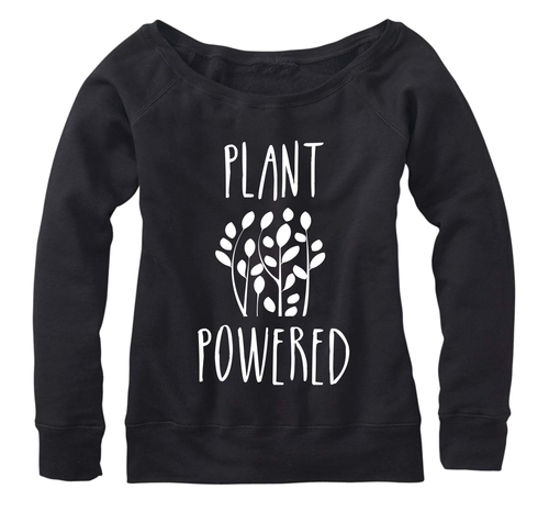 Plant Powered, Fleece, Wide neck Pullover sweatshirt