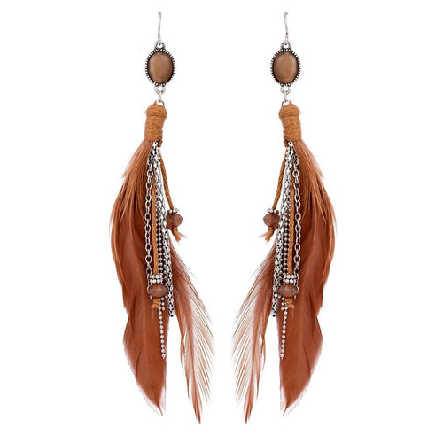 Feather + Metal Earrings