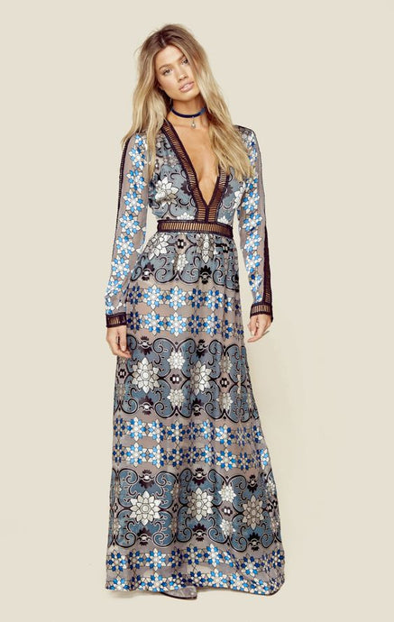 Indigo Lace Long Sleeve V-neck Dress