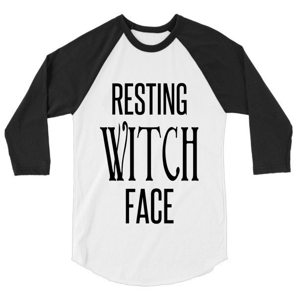 Resting Witch Face fall 3/4 sleeve raglan, baseball shirt