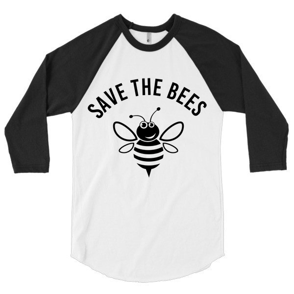 Save the Bees 3/4 sleeve, raglan, unisex, baseball shirt
