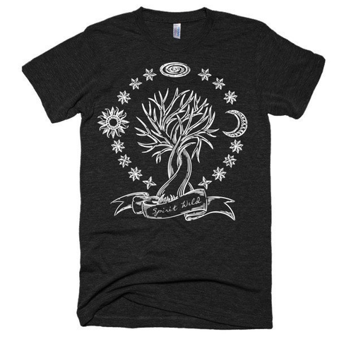 Spirit Wild, Tree of Life, Stars, sun and moon, boho, festival style, unisex, Short sleeve soft t-shirt