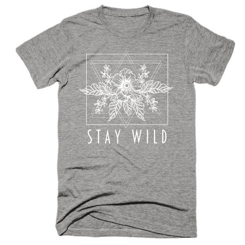 Stay Wild, floral, Unisex, Short sleeve soft t-shirt