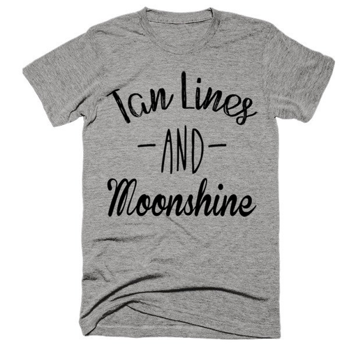 Tan Lines and Moonshine, super soft, unisex, t-shirt