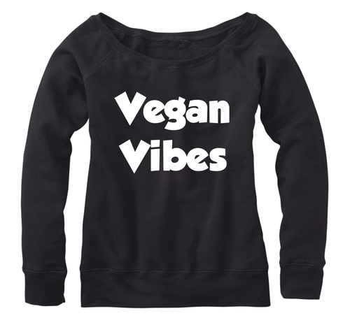 Vegan Vibes, Fleece, Wide Neck Pullover sweatshirt