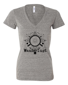 Wanderlust deep V neck, t-shirt