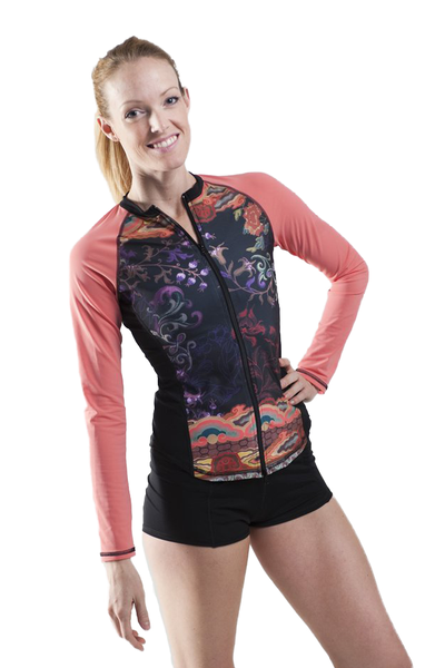 Long Sleeve Full Zip Rash Guard - Bali