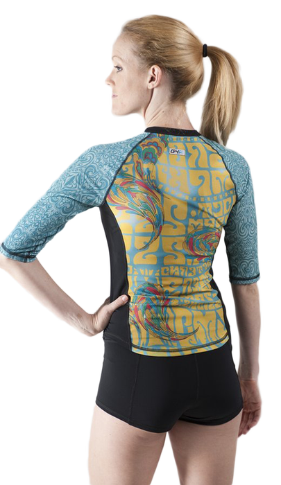 Half Sleeve Full Zip Rash Guard  - Zen Garden