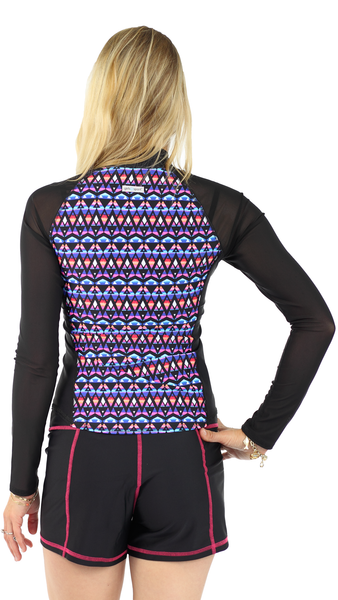 Long Sleeve Rash Guard- Crush - Mesh Sleeves