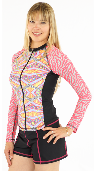 Long Sleeve Full Zip Rash Guard - Burst