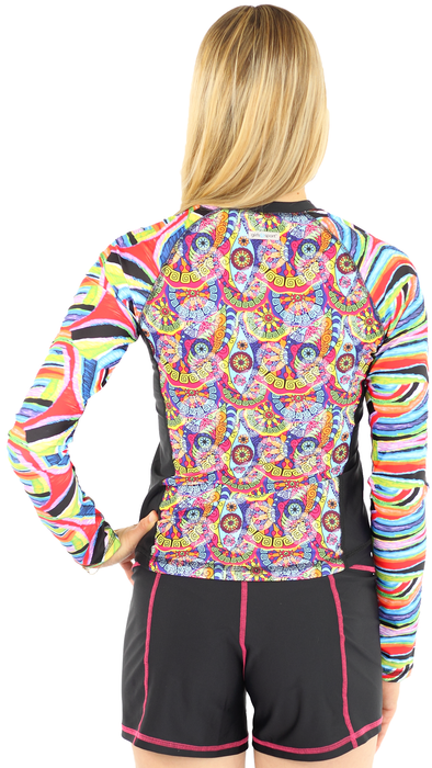 Long Sleeve Full Zip Rash Guard  - Trance
