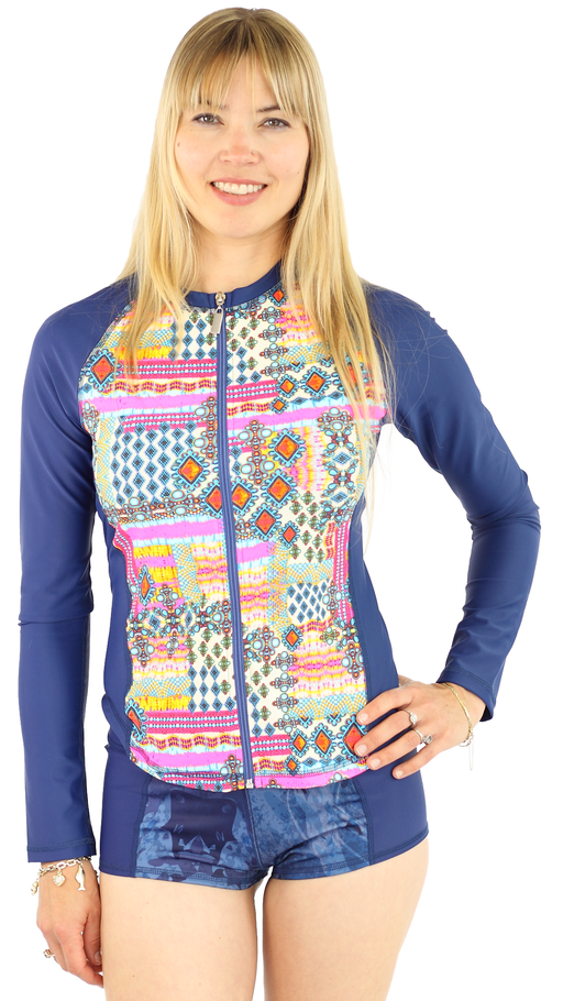 Long Sleeve Full Zip Rash Guard- Breeze