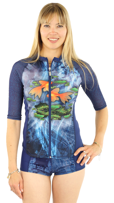 Half Sleeve Full Zip Rash Guard - Pisces