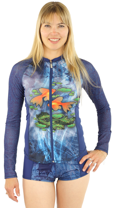 Long Sleeve Full Zip Rash Guard - Pisces