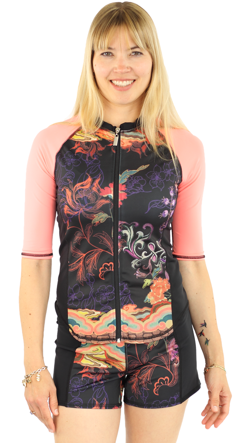 Half Sleeve Full Zip Rash Guard - Bali