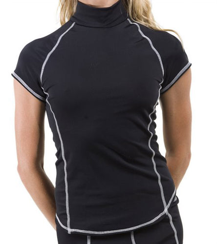 Short Sleeve Rash Guard - Black with White Stitching
