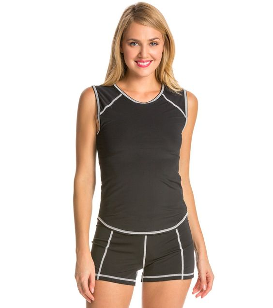 Sleeveless Rashguard - Black with White Stitching