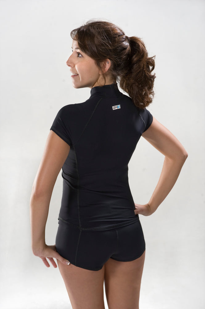Short Sleeve Rash Guard - Black with Black Stitching