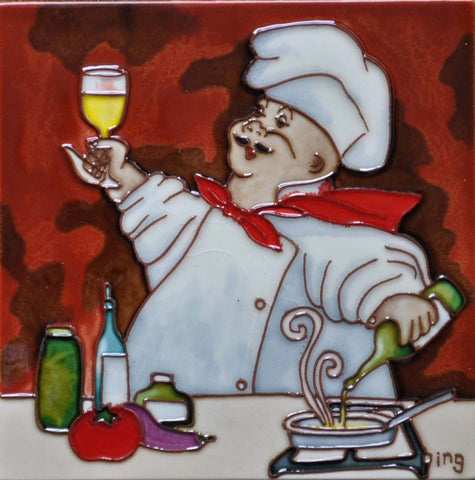 Chef with White Wine - Trivet 8X8