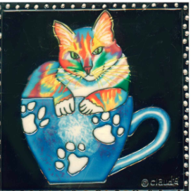 Coffee Cat - Ceramic Trivet  8X8