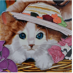 CAT IN HAT Ceramic Trivet - 8x8