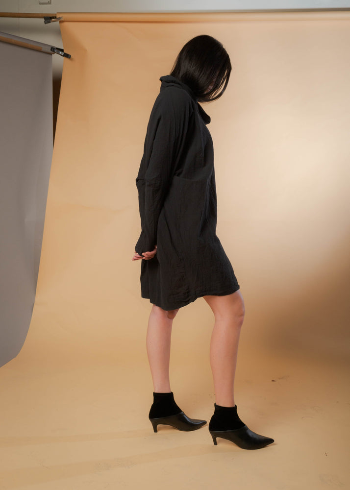 Woven Black Cricket Dress || UZI