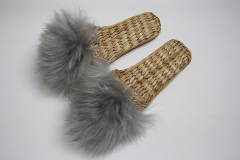 Handwoven Slippers with Lamb Wool - Gray || Folk Fortune