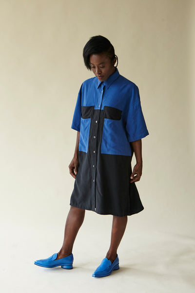 Sanni Dress - Blue/Black || Megan Huntz