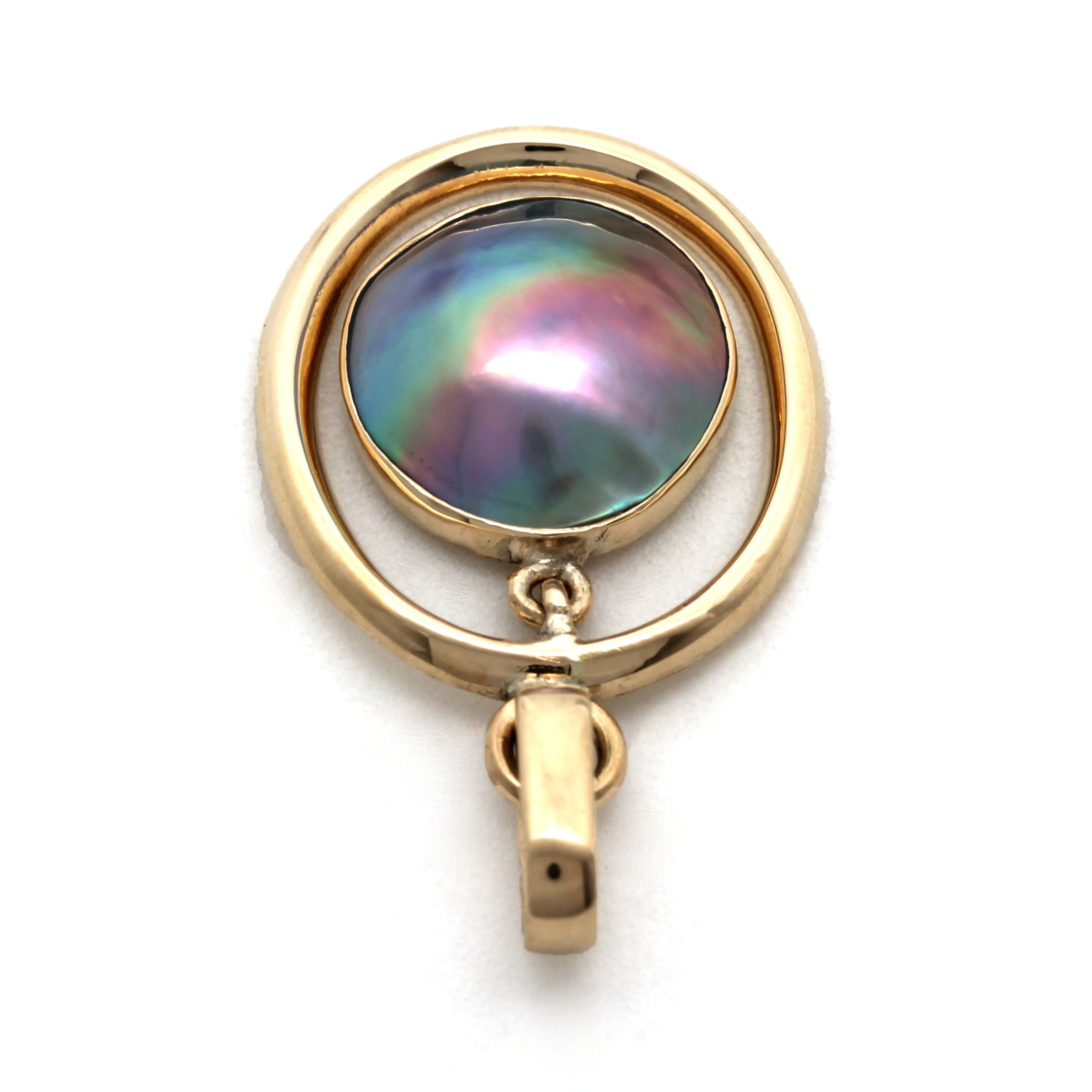 14K Yellow Gold Pendant with Cortez Mabe Pearl