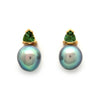 18K Yellow Gold Earrings with Cortez Pearls and Green Tourmalines