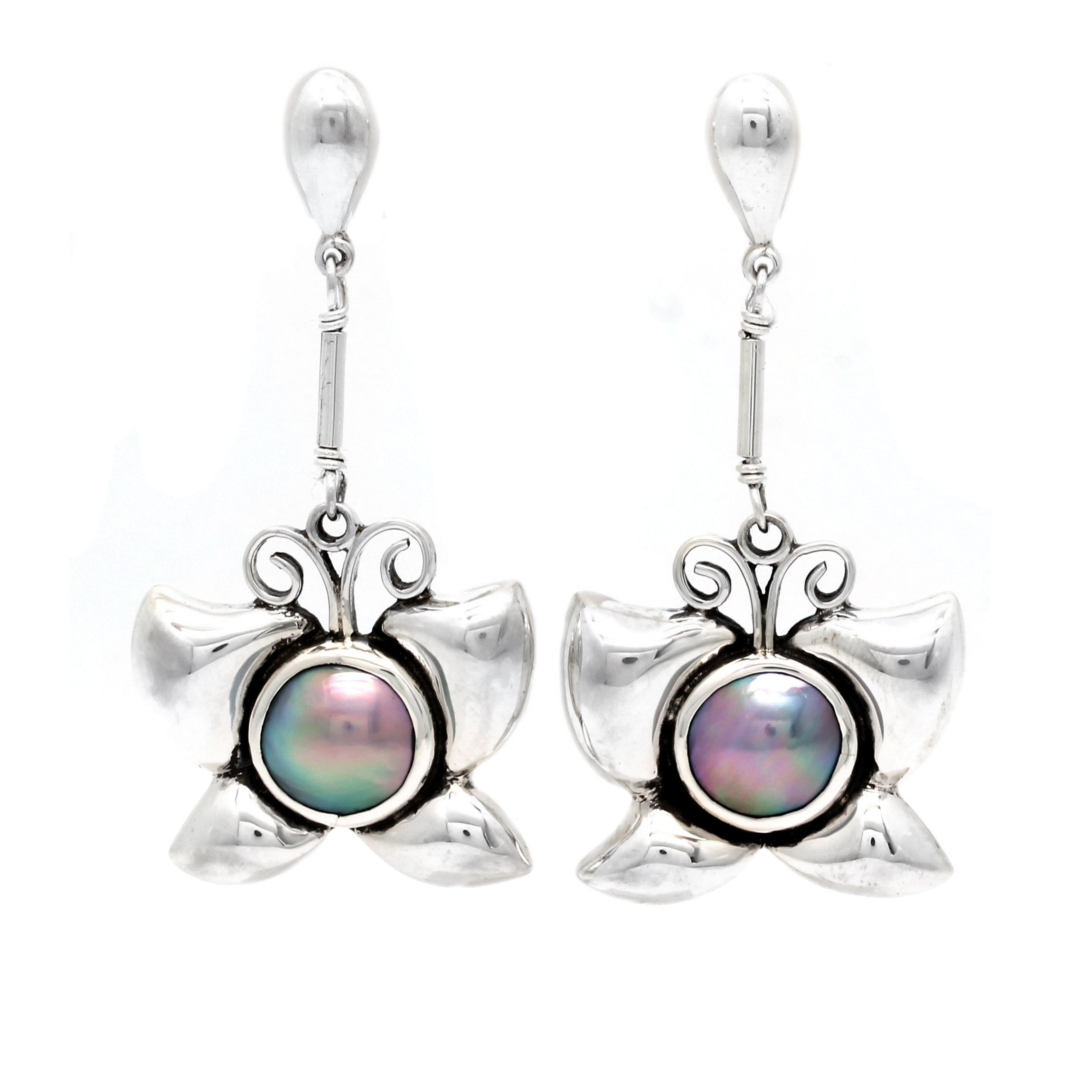 """Butterfly"" Silver Earrings with Cortez Mabe Pearls by Priscila Canales"