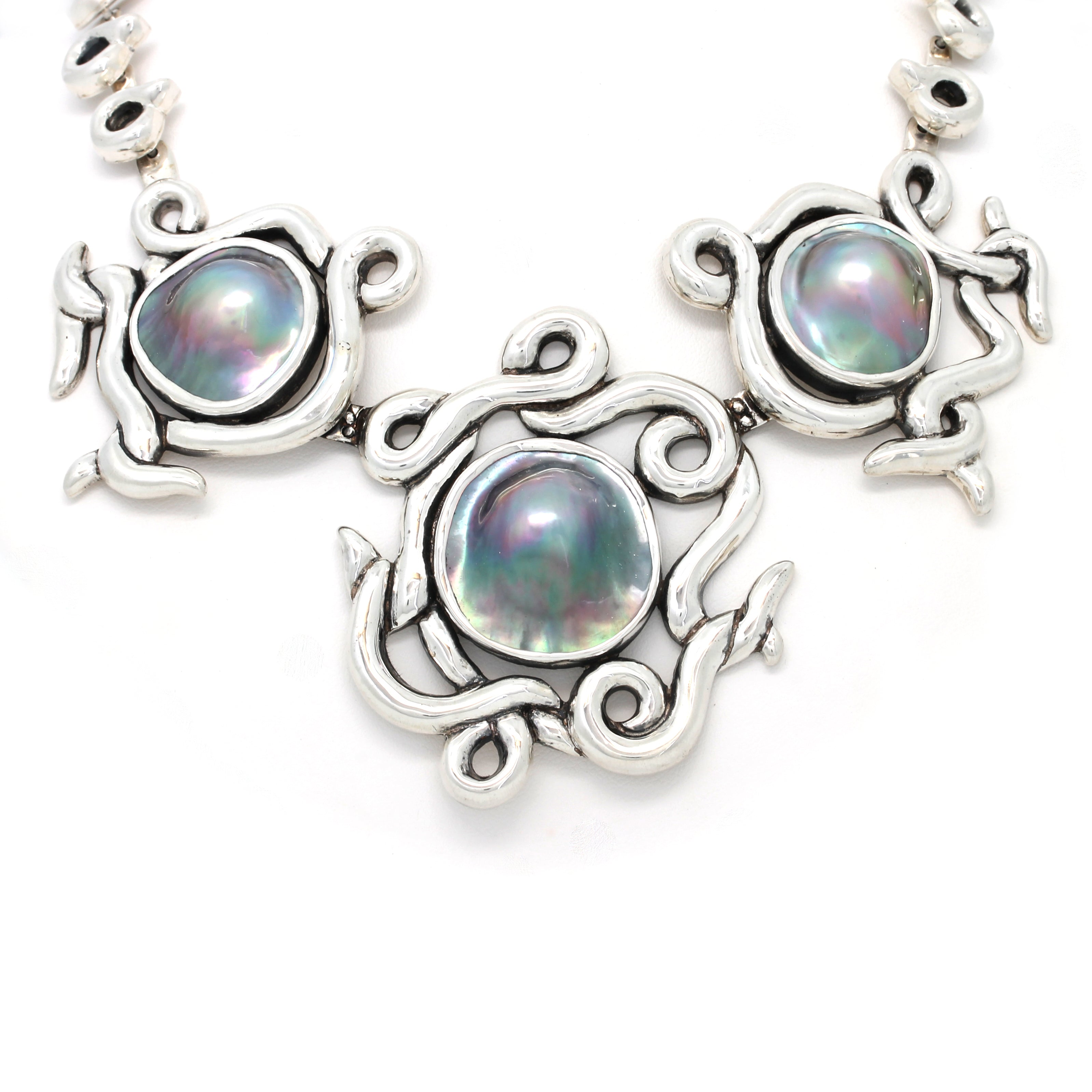 Stunning Blister Mabe Pearl Silver Necklace by  Priscila Canales