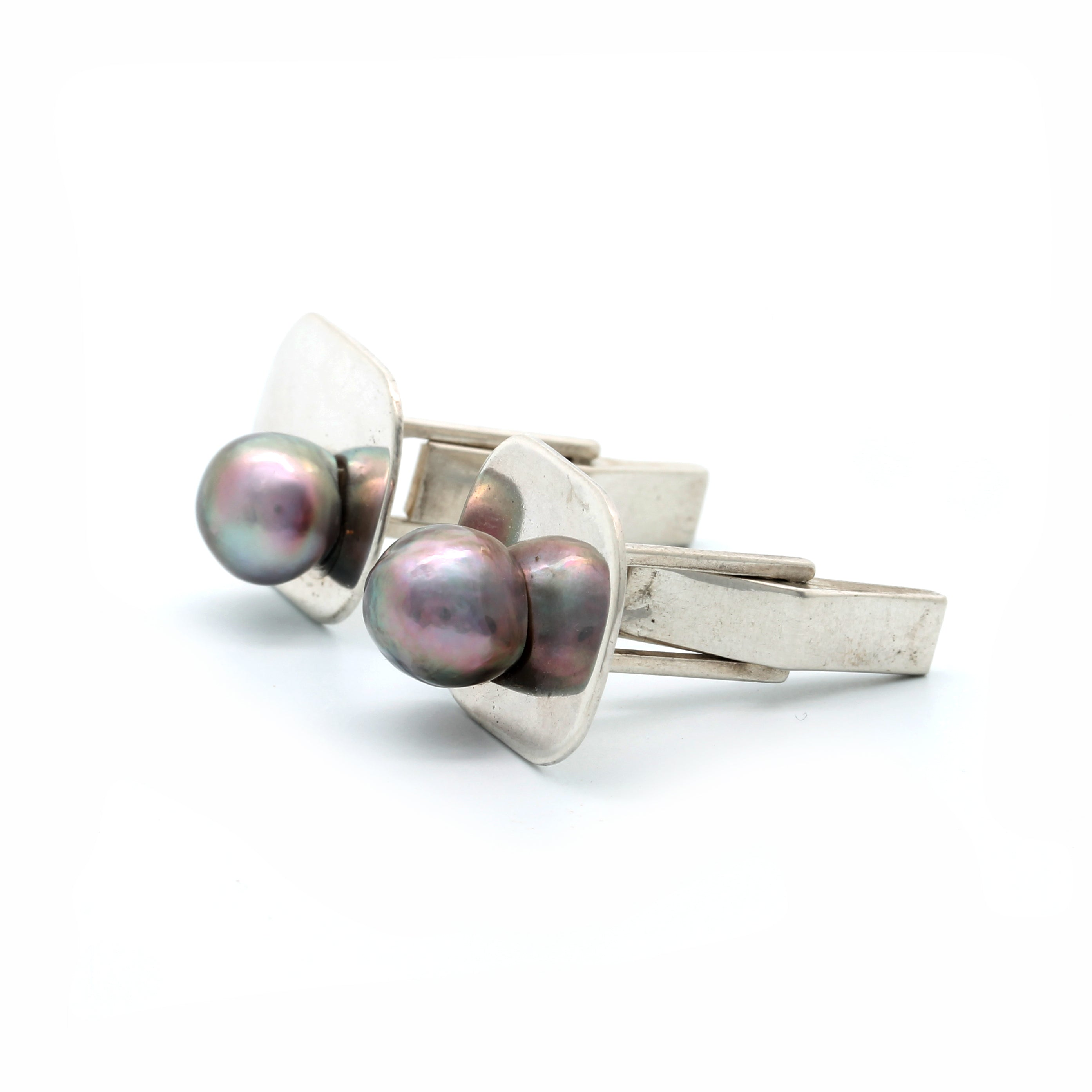 Silver Cufflinks with Sea of Cortez Pearls
