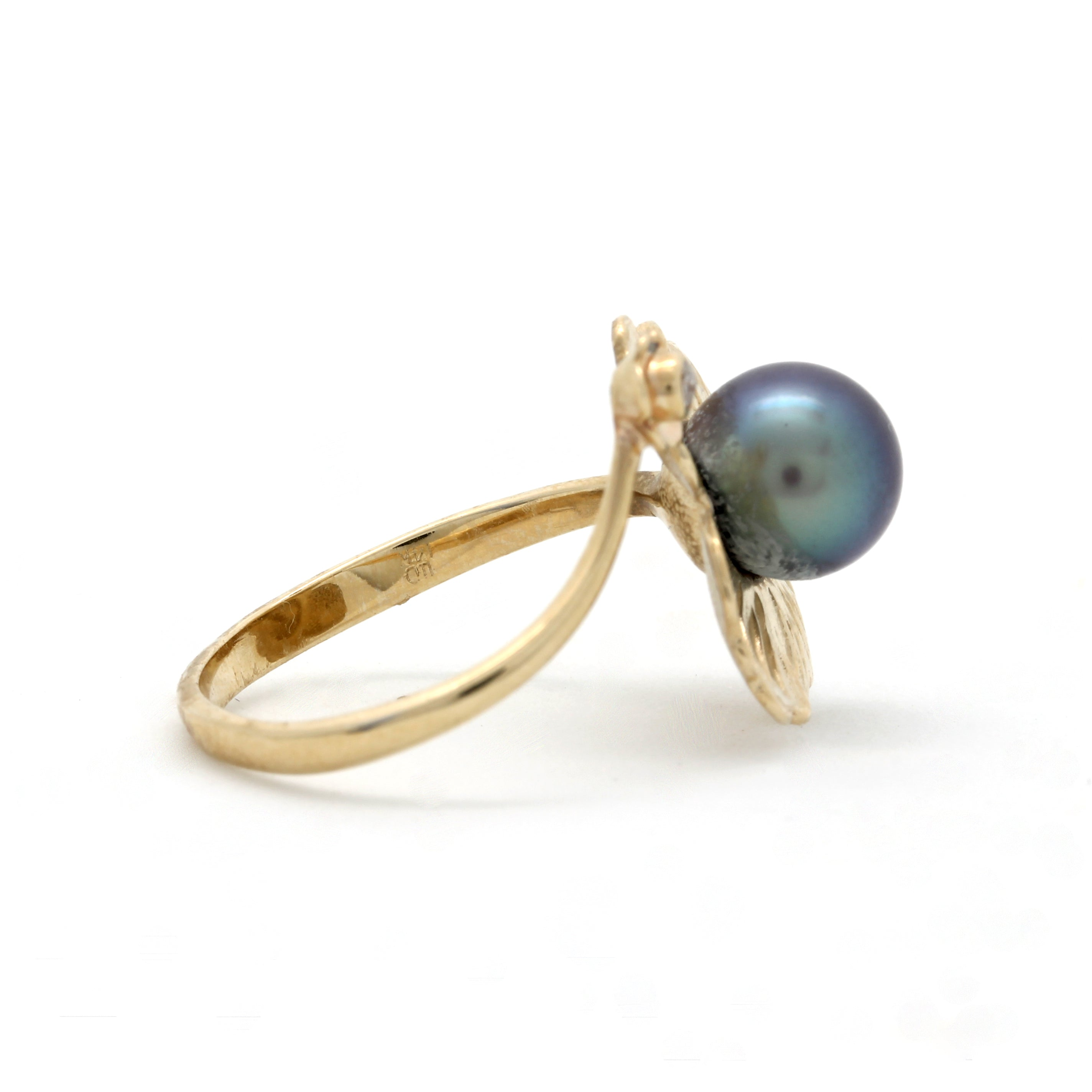 """Flower"" 14K Yellow Gold Ring with GEM Cortez Pearl"