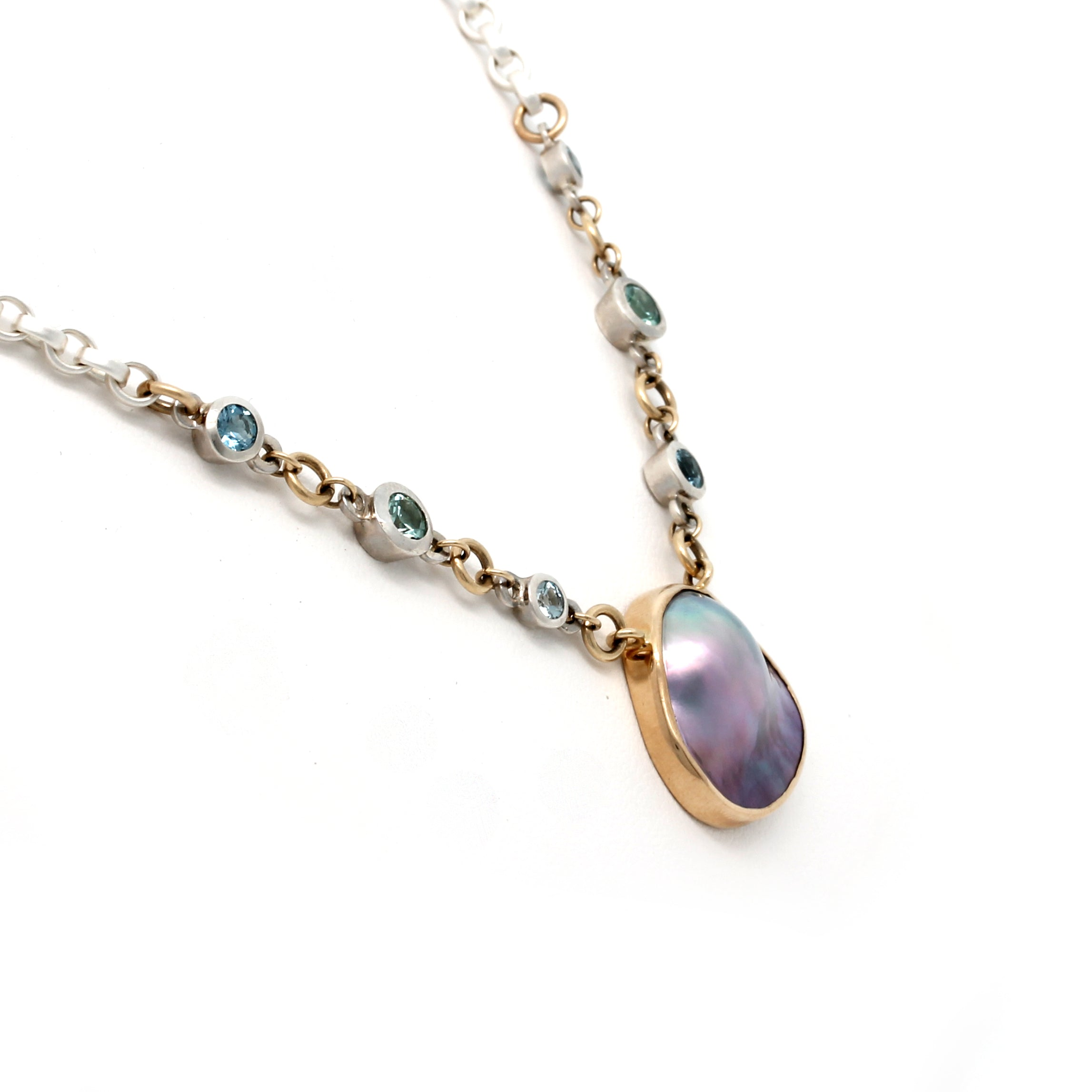 14K Yellow Gold and Silver Cortez Blister Pearl Necklace