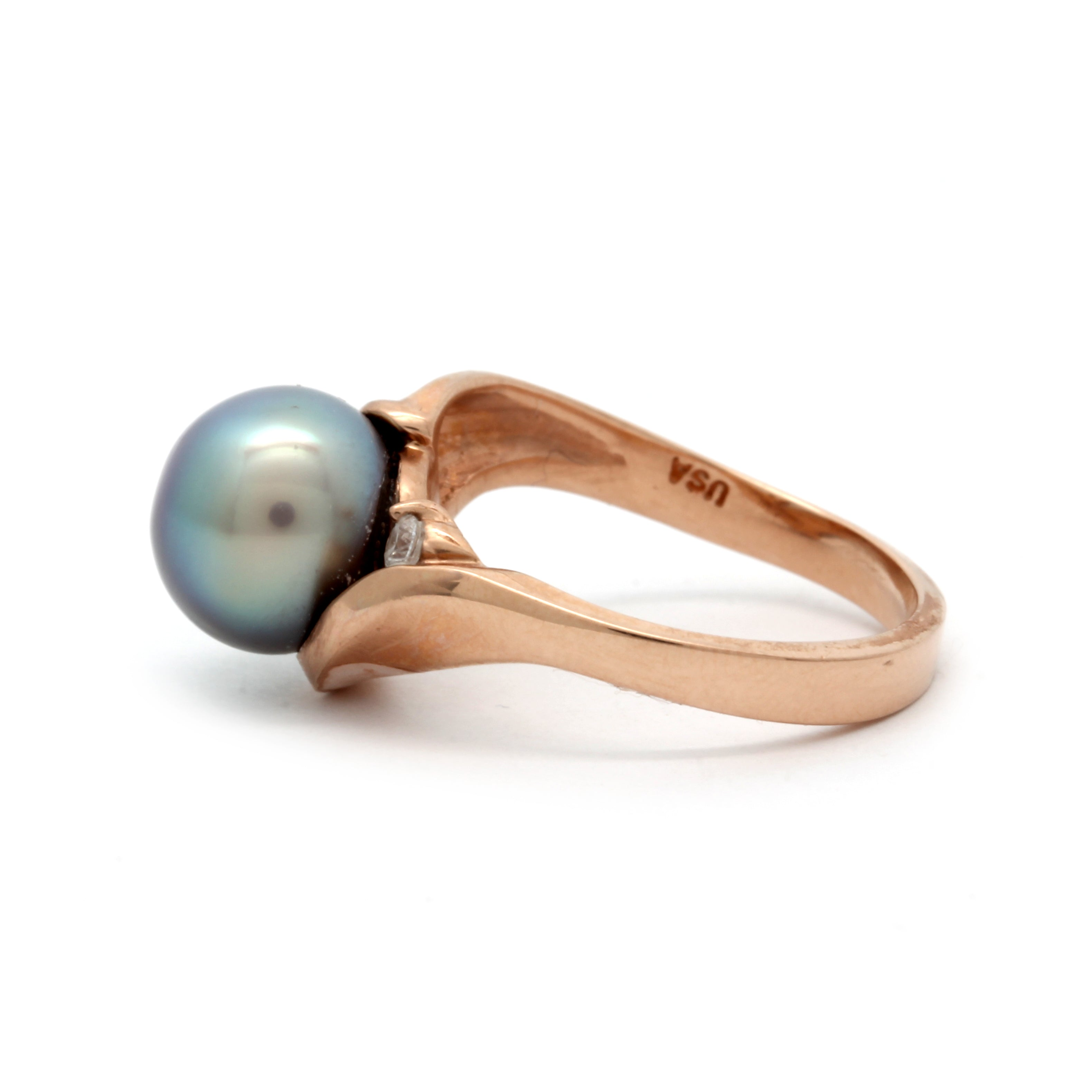 NEW Rose Gold Ring with Gem++SN Cortez Pearl and Diamond by Kathe Mai