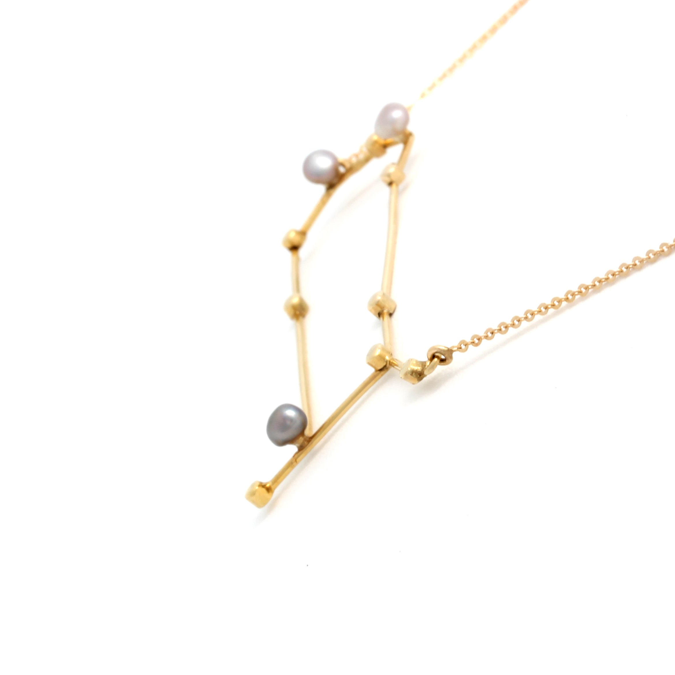 """Gemini"" 14K Yellow Gold Pendant and Chain with Cortez Keshi Pearls"