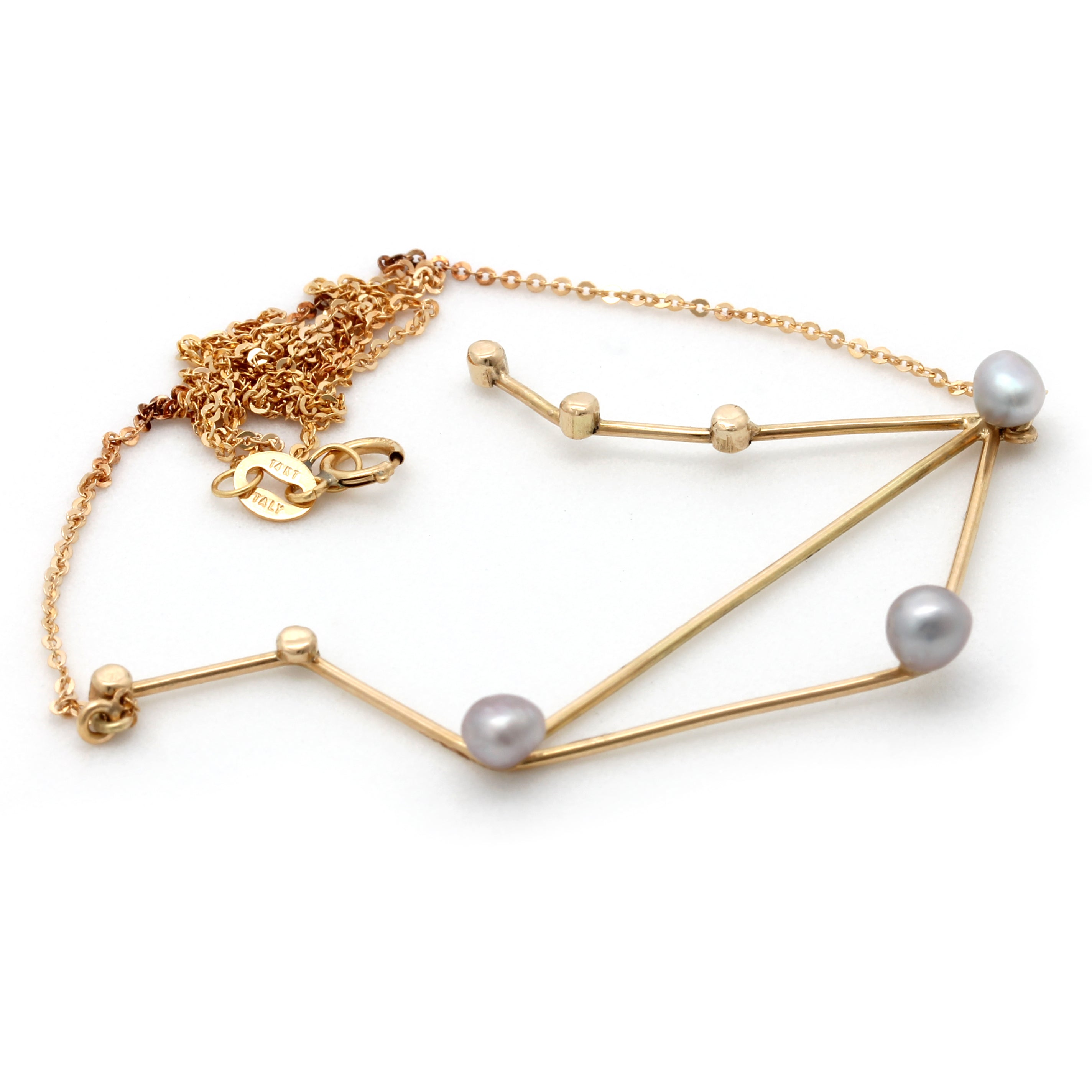 """Libra"" 14K Yellow Gold Pendant and Chain with Cortez Keshi Pearls"