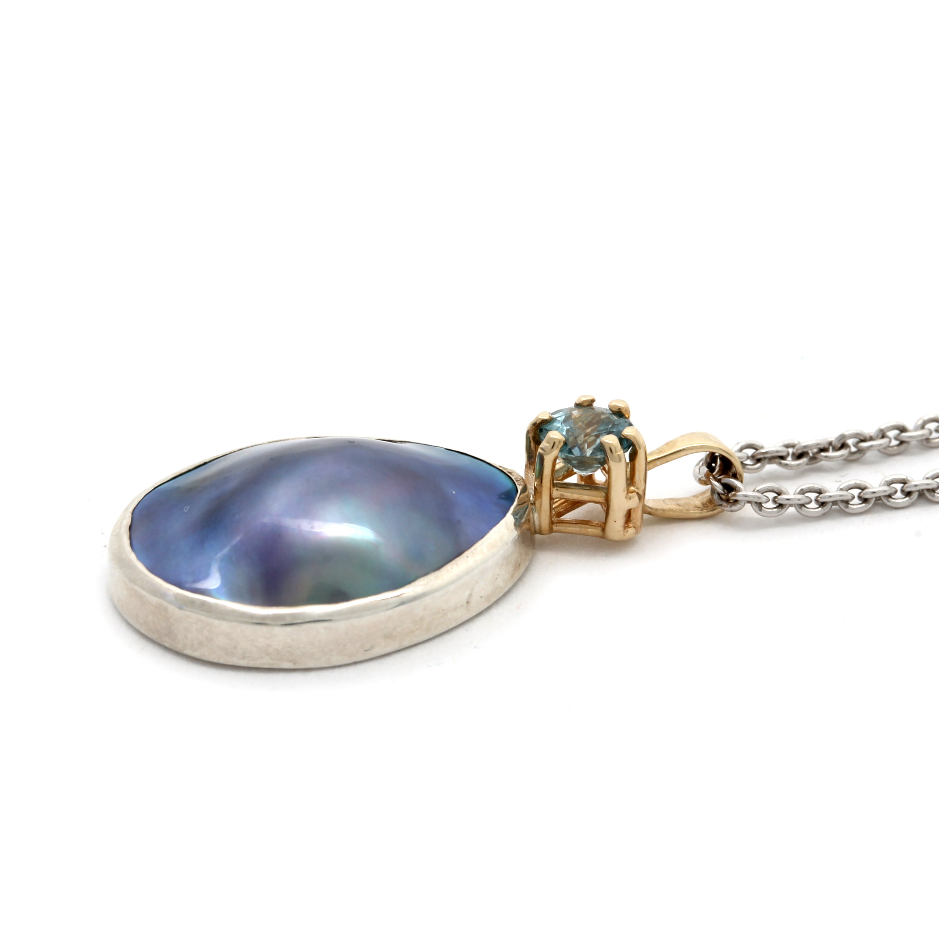 NEW 14K Yellow Gold Pendant with Amazing Cortez Mabe Pearl