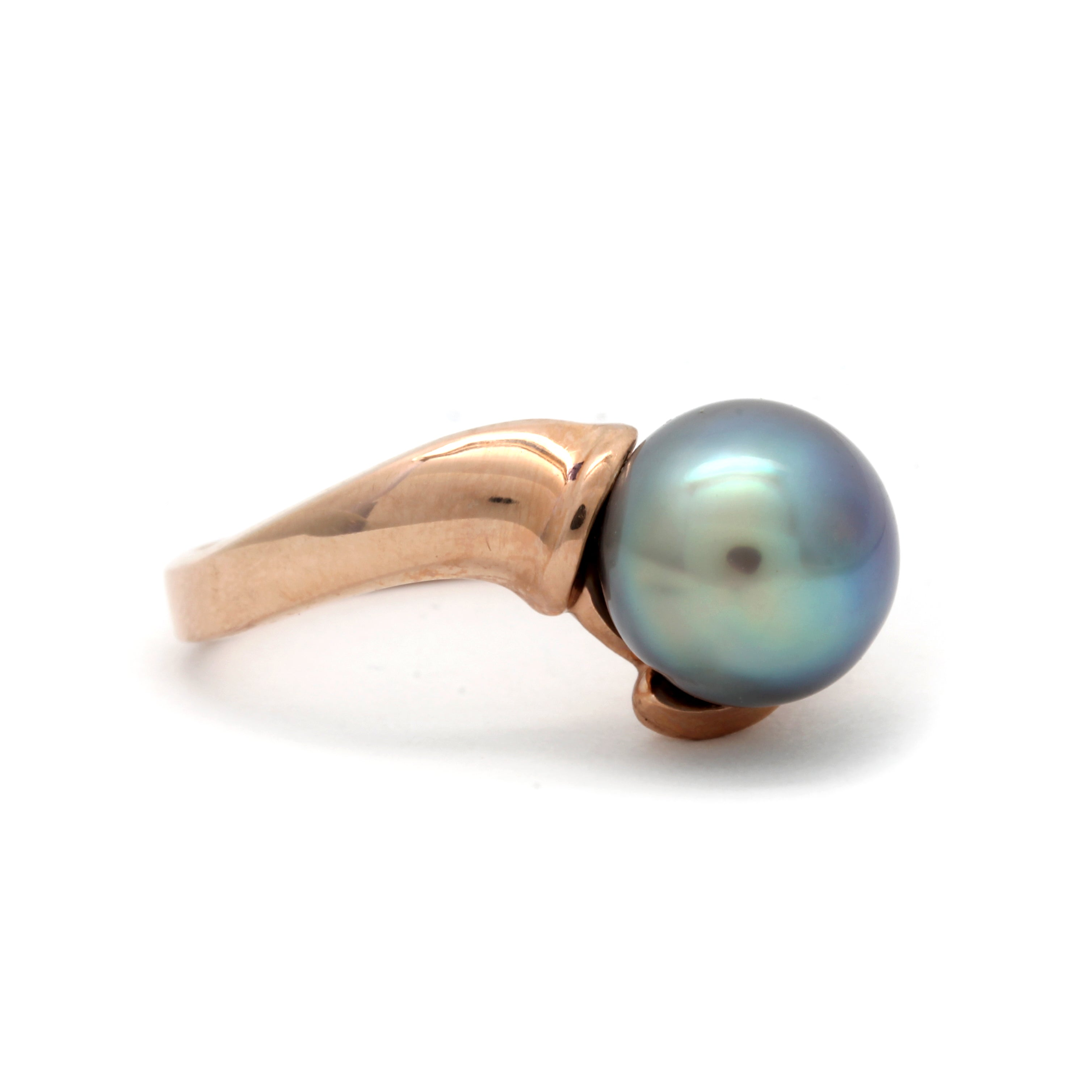 Rose Gold Ring with Gem++SN Cortez Pearl and Diamond by Kathe Mai