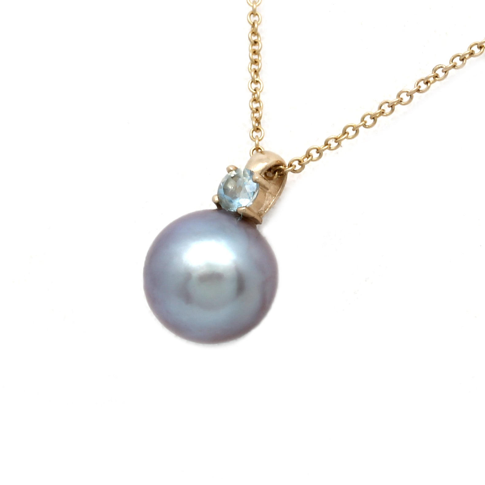 14K Yellow Gold Chain with Aquamarine and a Sea of Cortez Pearl