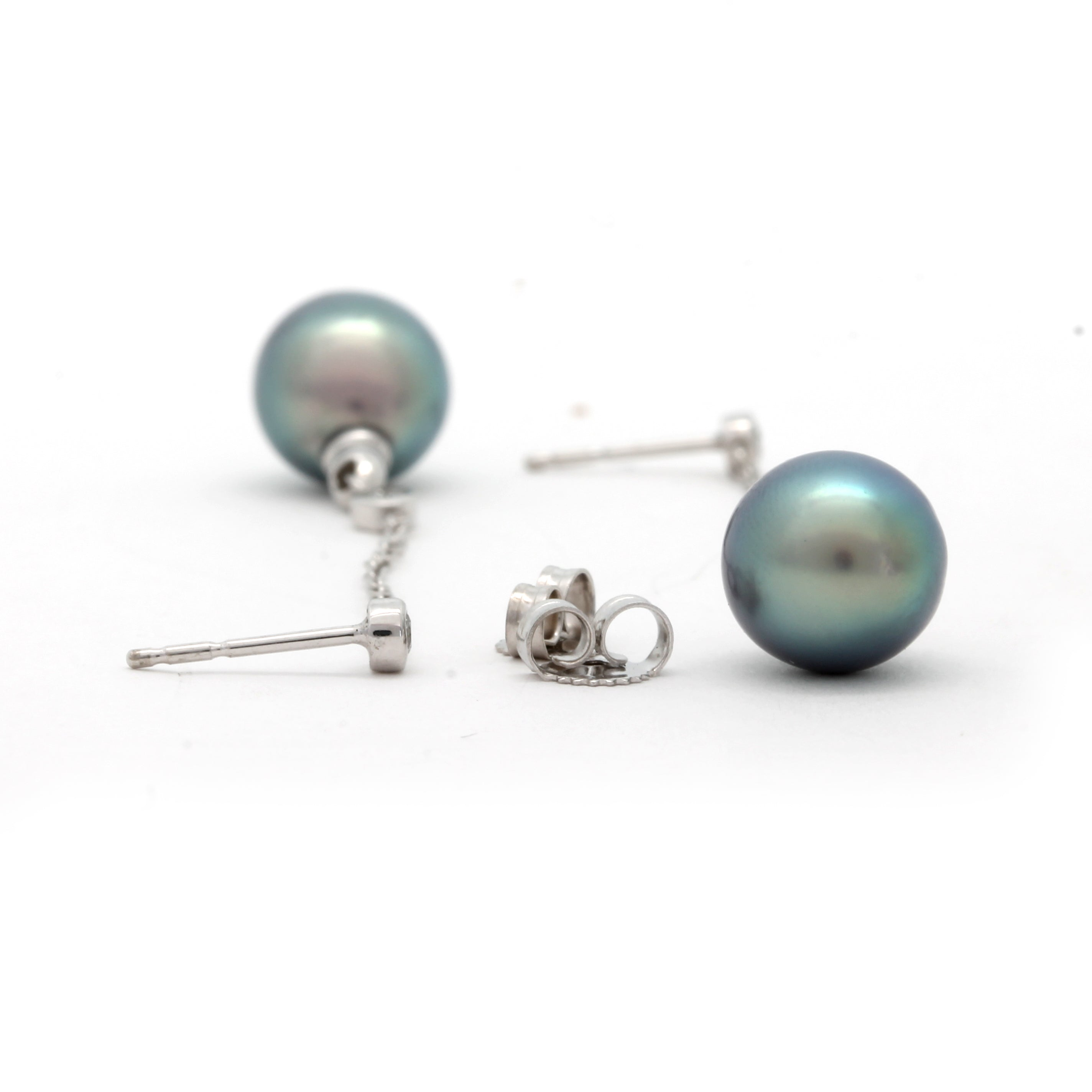 """Cadence"" Earrings on White Gold with Diamonds and Sea of Cortez Pearls"