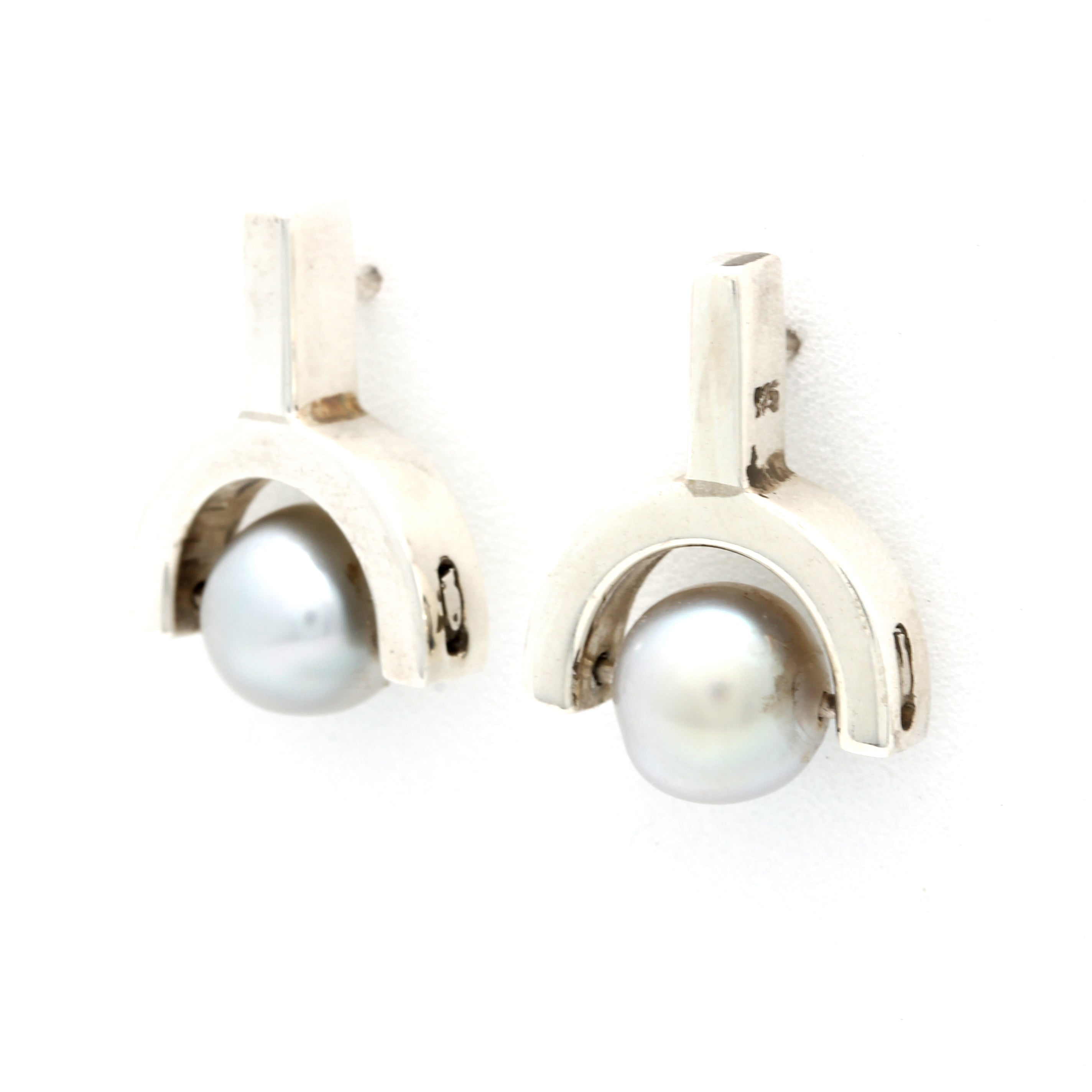Silver Earrings with Cortez Pearls by Fabra