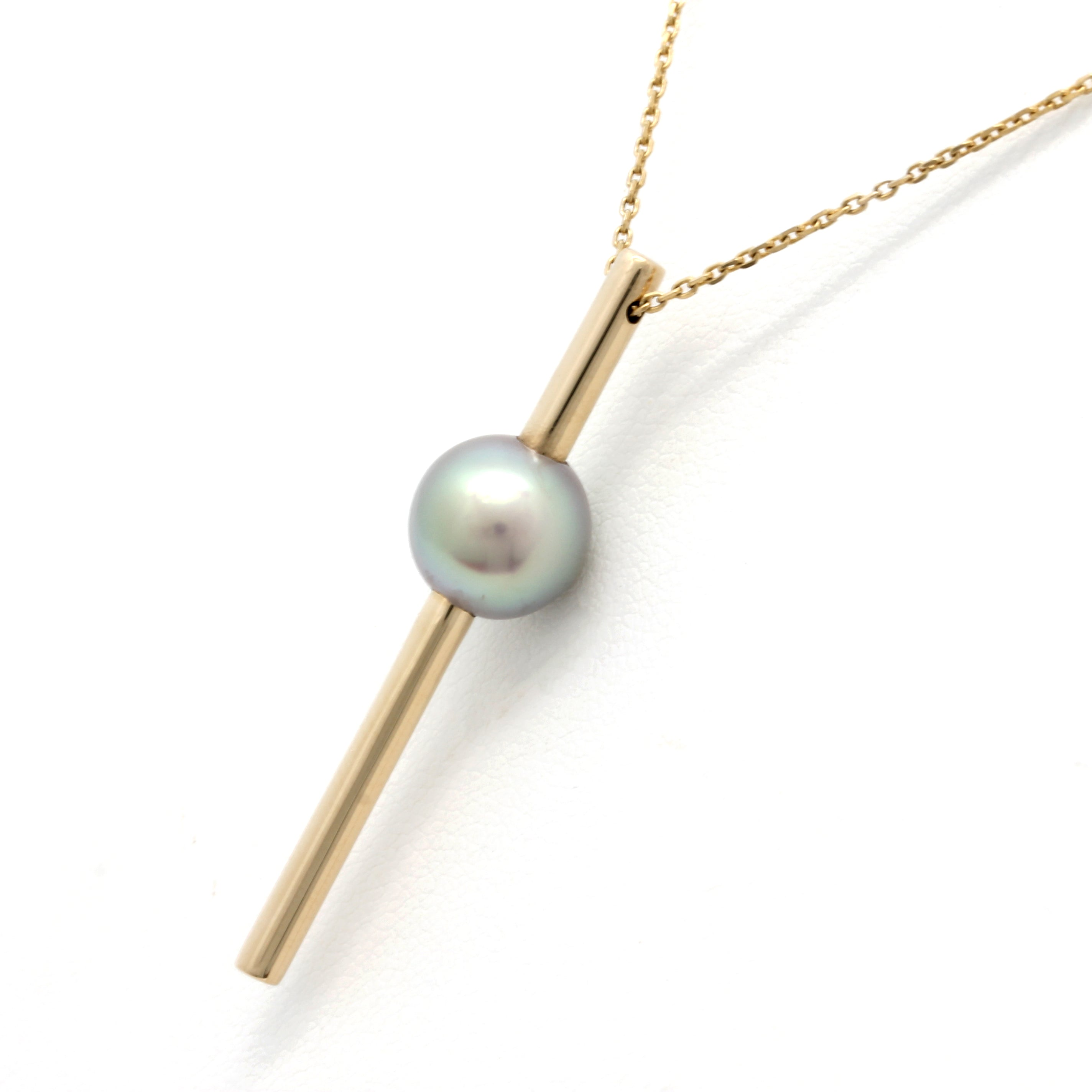 "14K Yellow Gold Pendant and Chain with a Gem Cortez Pearl By: ""Noble Sensación"""