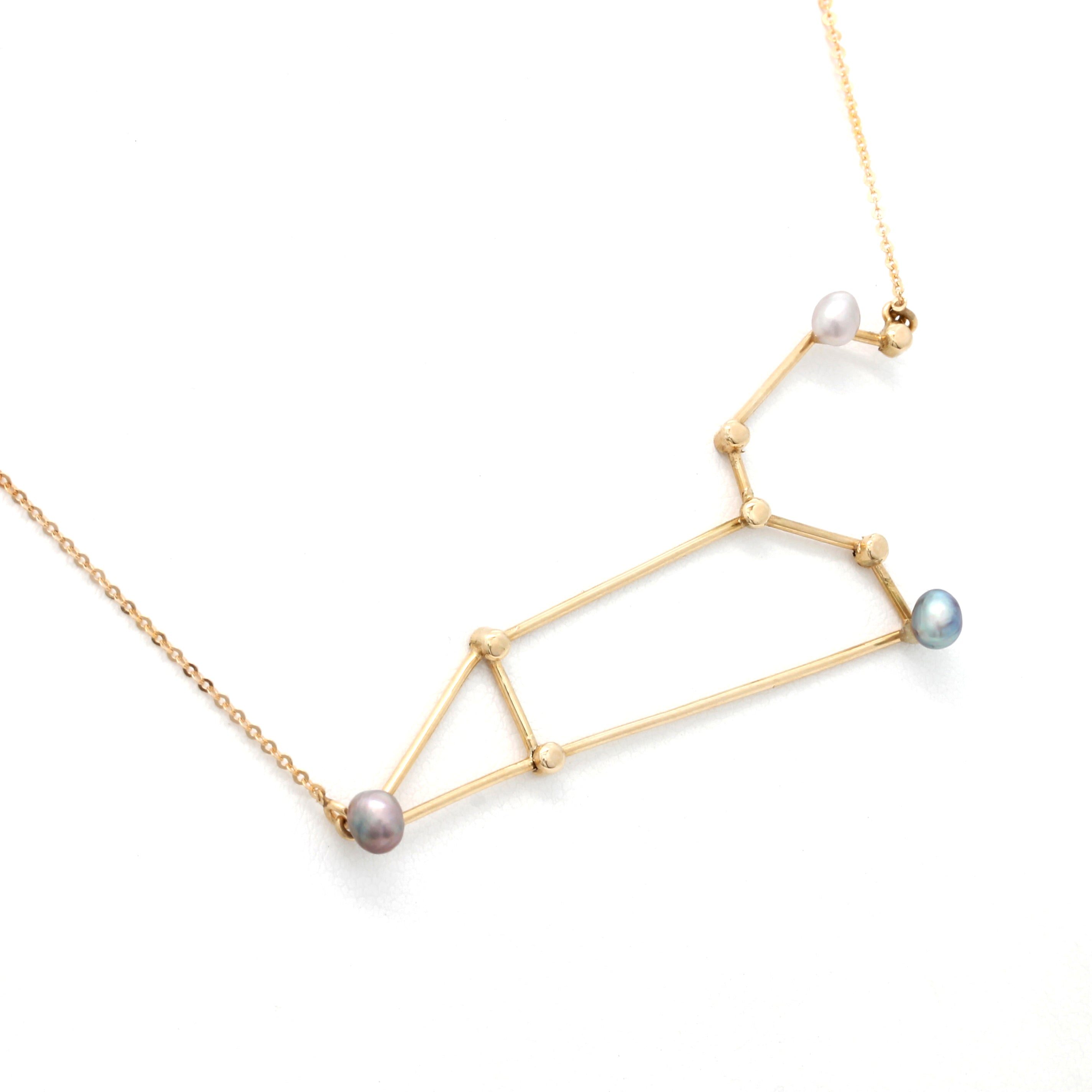 """Leo"" 14K Yellow Gold Pendant and Chain with Cortez Keshi Pearls"