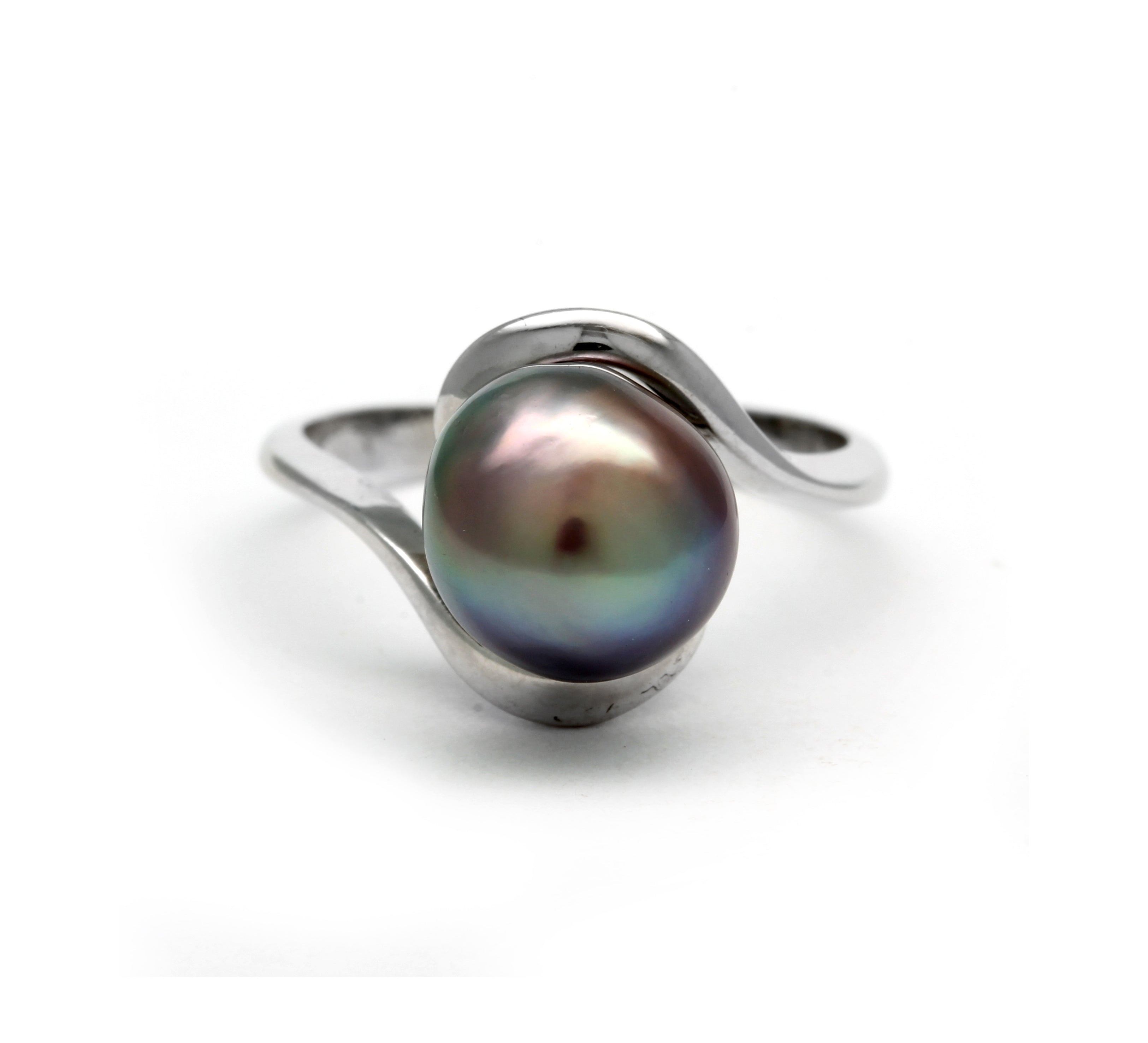 Silver Ring with Cortez Pearl size 6.5