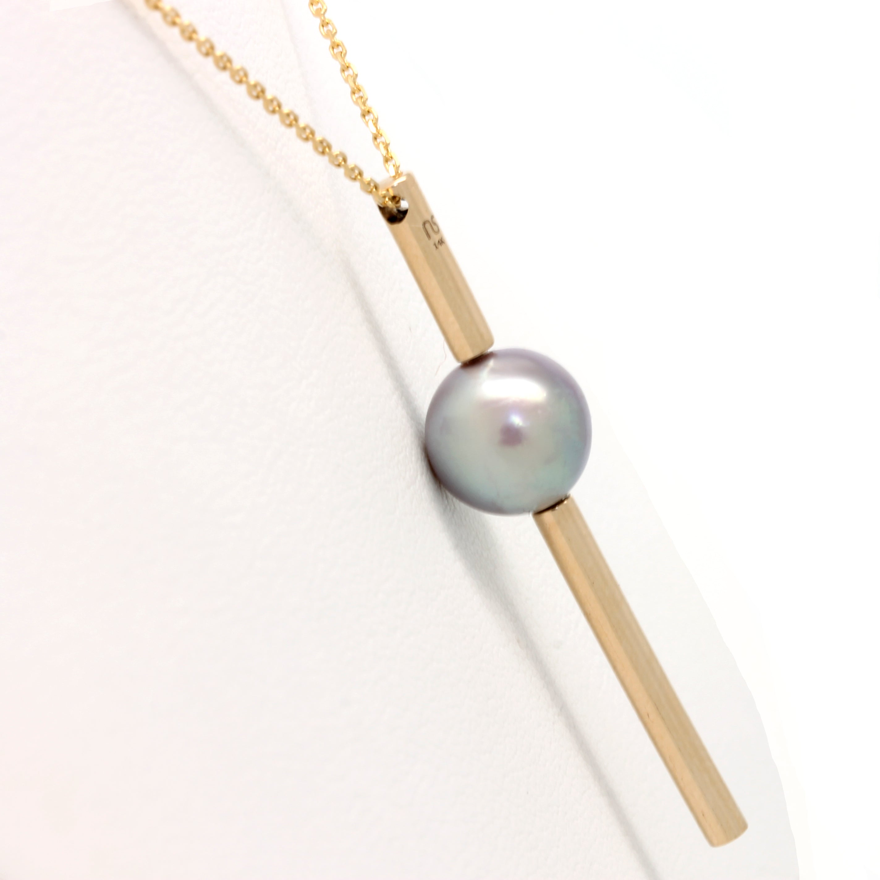 "14K Yellow Gold Pendant and Chain with a Pearl from the Sea of Cortez By: ""Noble Sensación"""
